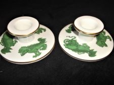 PAIR OF ELEGANT WEDGWOOD GILDED CHINA CANDLESTICKS GREEN CHINESE TIGERS
